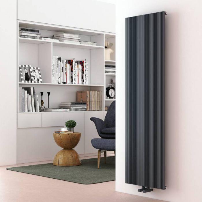 Milano Lex - Anthracite Vertical Aluminium Designer Radiator 1600mm x 470mm