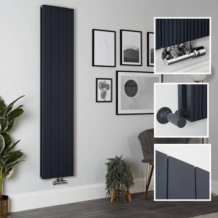Milano Lex - Anthracite Vertical Aluminium Designer Radiator 1800mm x 375mm (Double Panel)