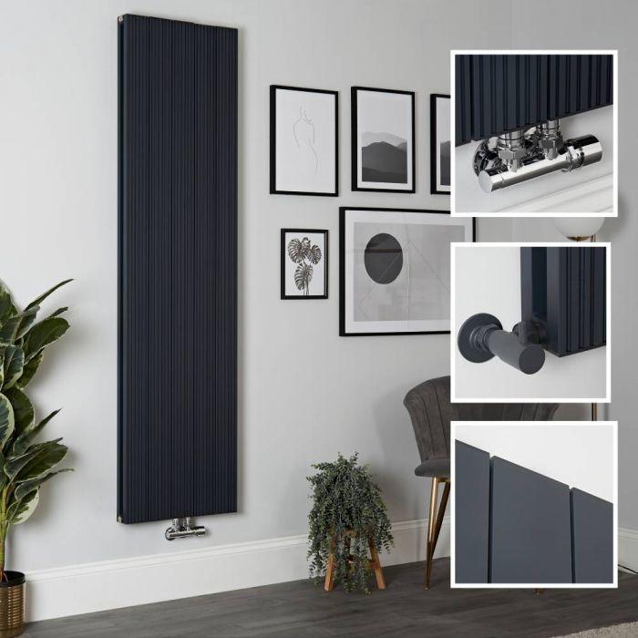 Milano Lex - Anthracite Vertical Aluminium Designer Radiator 1800mm x 470mm (Double Panel)