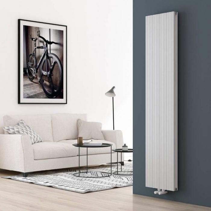 Milano Lex - White Vertical Aluminium Designer Radiator 1800mm x 375mm (Double Panel)