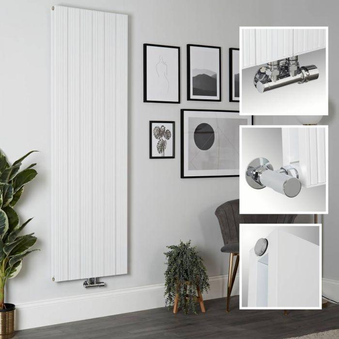 Milano Lex - White Vertical Aluminium Designer Radiator 1800mm x 565mm (Double Panel)