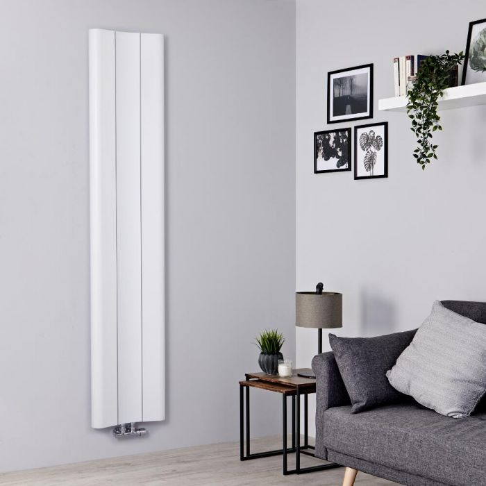 Milano Solis - White Vertical Aluminium Designer Radiator 1800mm x 370mm