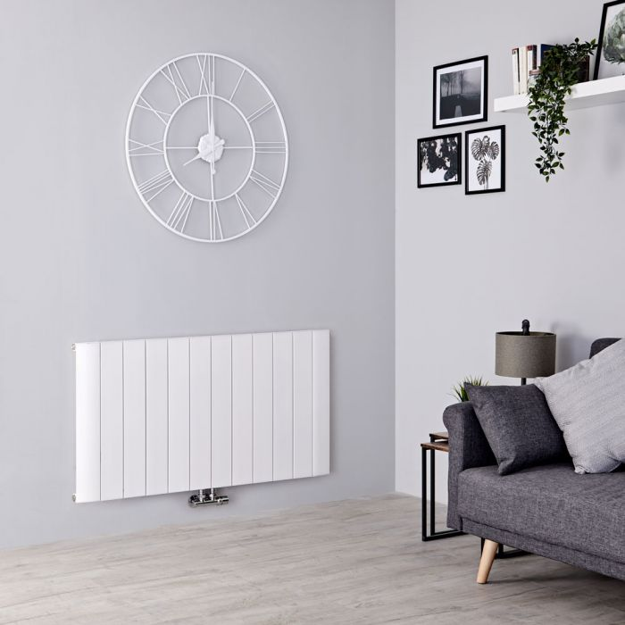 Milano Skye - Aluminium White Horizontal Designer Radiator 600mm x 1135mm