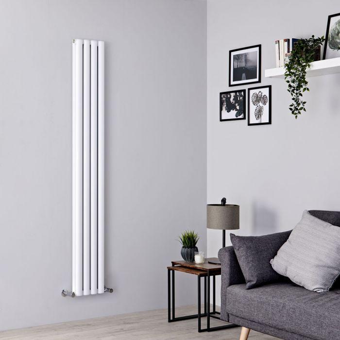 Milano Aruba Ayre - Aluminium White Vertical Designer Radiator 1800mm x 230mm (Double Panel)