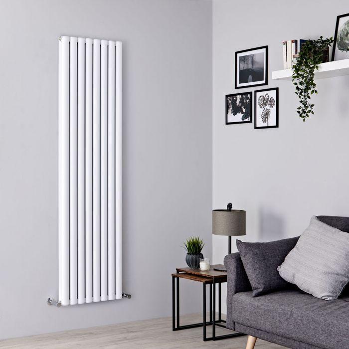 Milano Aruba Ayre - Aluminium White Vertical Designer Radiator 1800mm x 470mm (Double Panel)
