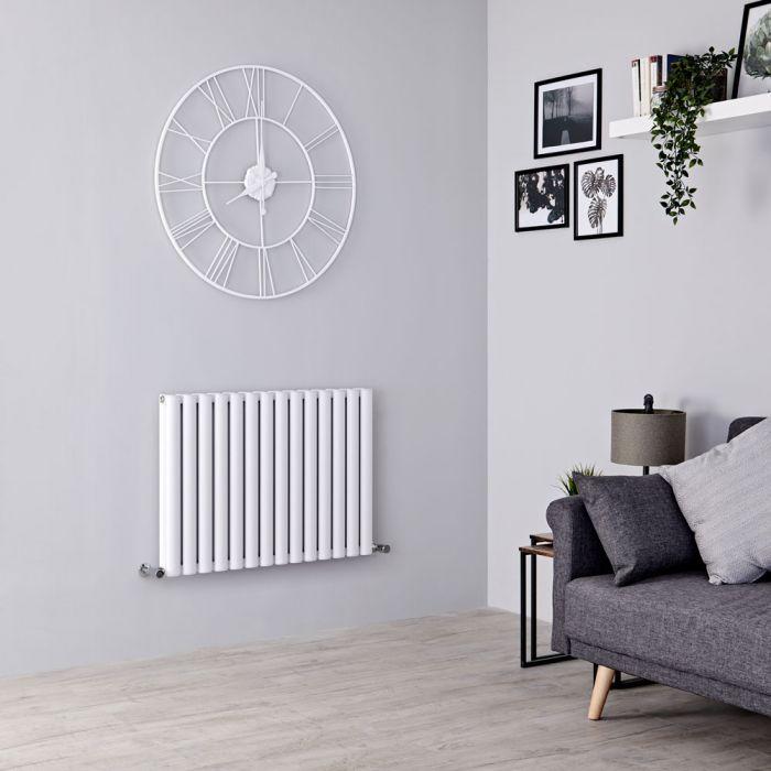 Milano Aruba Ayre - Aluminium White Horizontal Designer Radiator 600mm x 830mm (Double Panel)