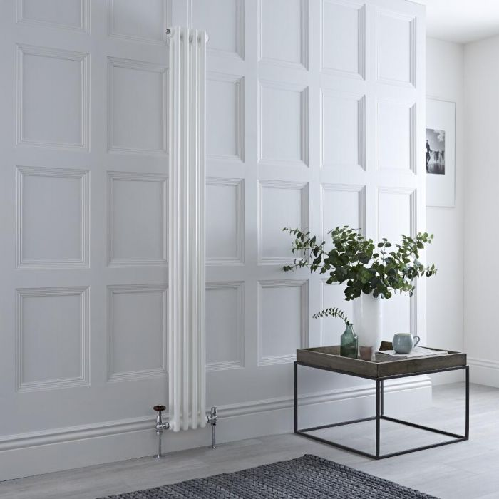 Milano Windsor - Vertical Double Column White Traditional Cast Iron Style Radiator - 1800mm x 200mm