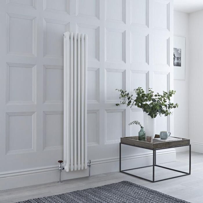 Milano Windsor - Vertical Triple Column White Traditional Cast Iron Style Radiator - 1500mm x 290mm