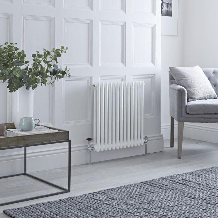 Milano Windsor - Horizontal Double Column White Traditional Cast Iron Style Radiator - 600mm x 605mm