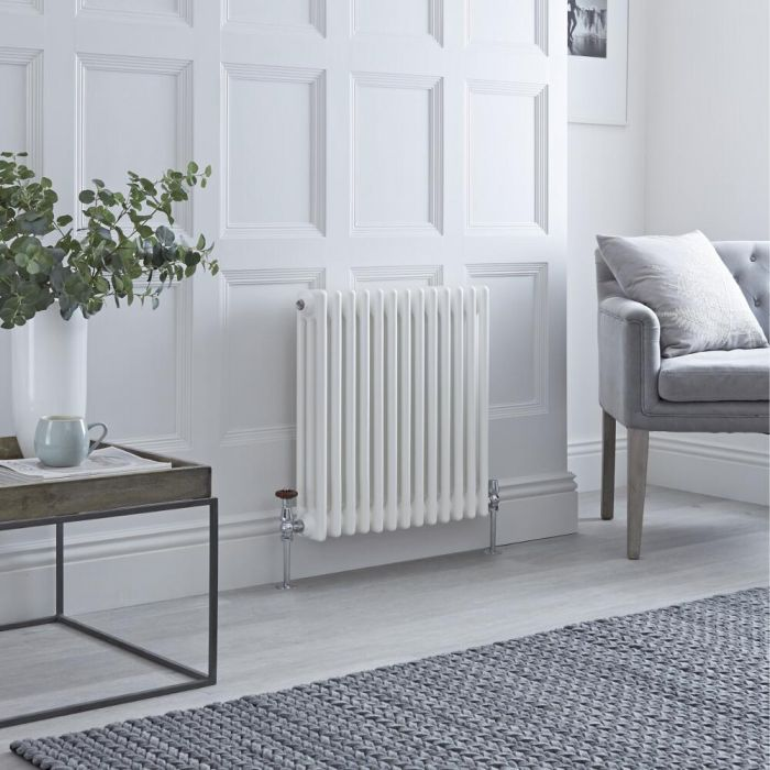 Milano Windsor - Horizontal Triple Column White Traditional Cast Iron Style Radiator - 600mm x 605mm
