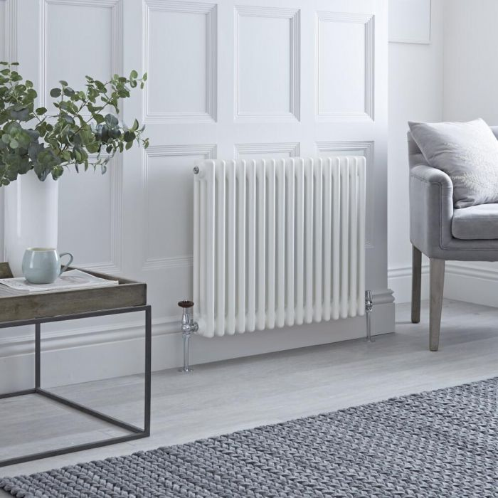 Milano Windsor - Horizontal Triple Column White Traditional Cast Iron Style Radiator - 600mm x 785mm