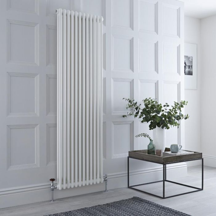 Milano Windsor - Vertical Double Column White Traditional Cast Iron Style Radiator - 1800mm x 560mm