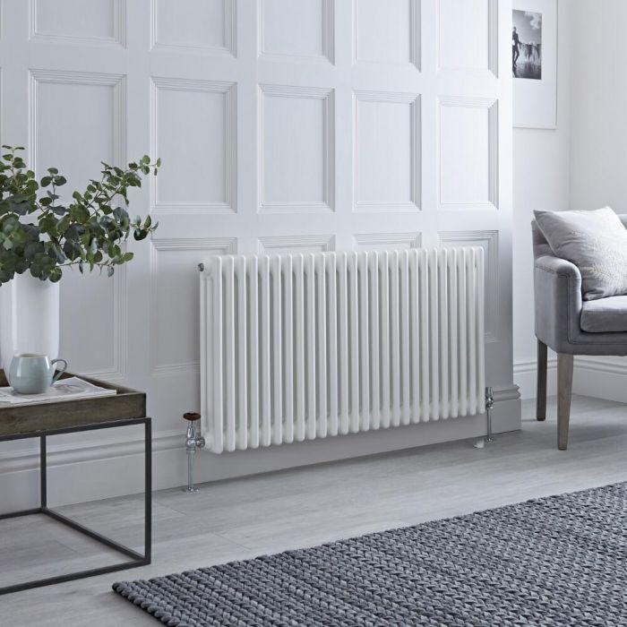 Milano Windsor - Horizontal Triple Column White Traditional Cast Iron Style Radiator - 600mm x 1190mm