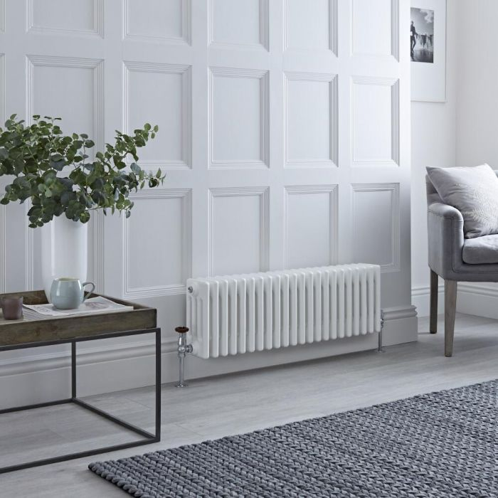 Milano Windsor - Horizontal Four Column White Traditional Cast Iron Style Radiator - 300mm x 1010mm