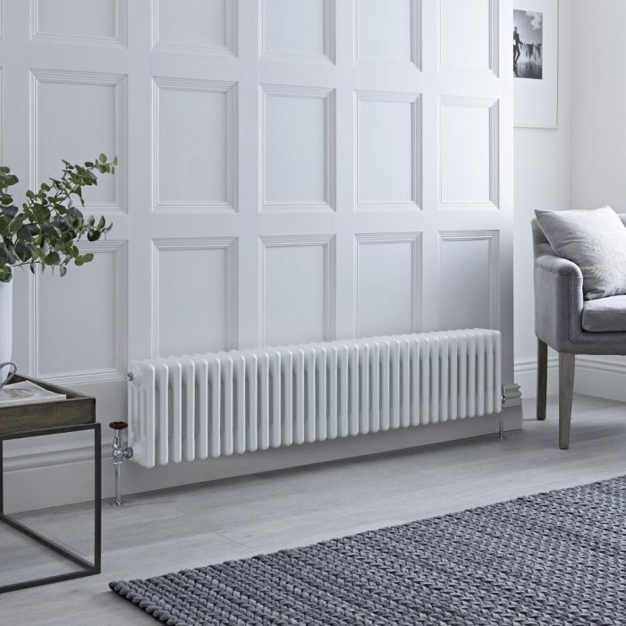 Milano Windsor - Horizontal Four Column White Traditional Cast Iron Style Radiator - 300mm x 1505mm