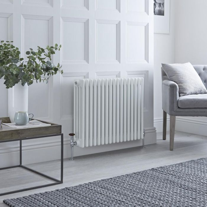 Milano Windsor - Horizontal Four Column White Traditional Cast Iron Style Radiator - 600mm x 785mm