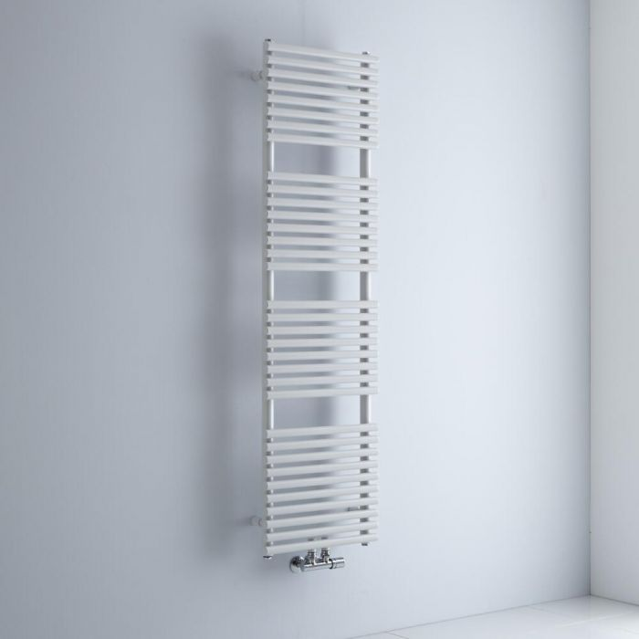 Milano Via - White Bar on Bar Central Connection Heated Towel Rail 1500mm x 400mm