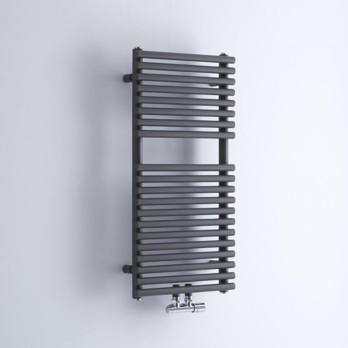 Milano Via - Anthracite Bar on Bar Central Connection Heated Towel Rail 835mm x 400mm