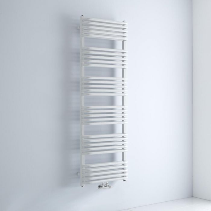 Milano Bow - White D Bar Central Connection Heated Towel Rail 1533mm x 500mm