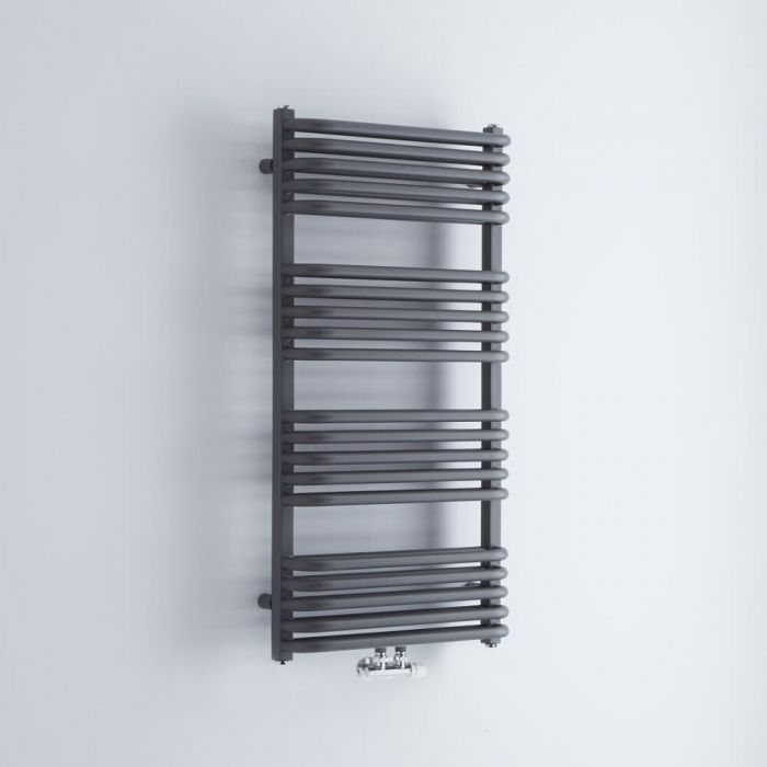 Milano Bow - Anthracite D Bar Heated Towel Rail 1000mm x 500mm