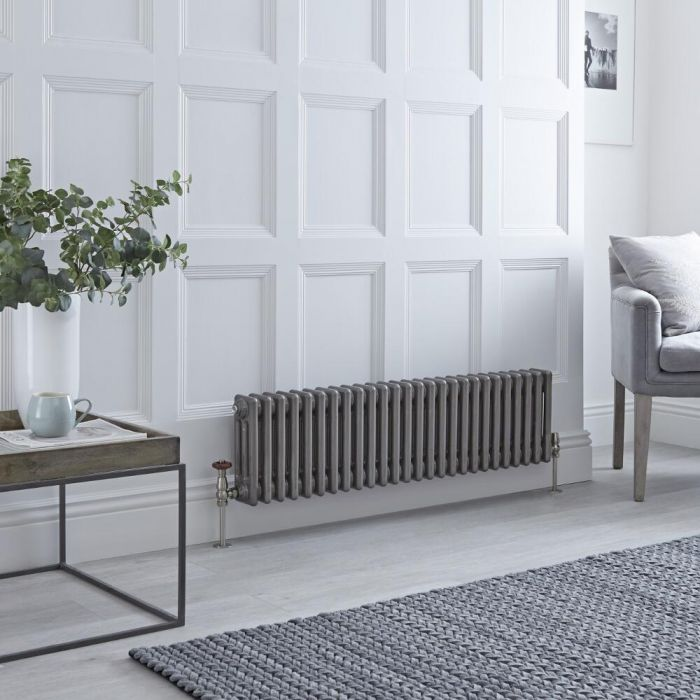 Milano Windsor - Horizontal Triple Column Lacquered Raw Metal Traditional Cast Iron Style Radiator - 300mm x 1190mm