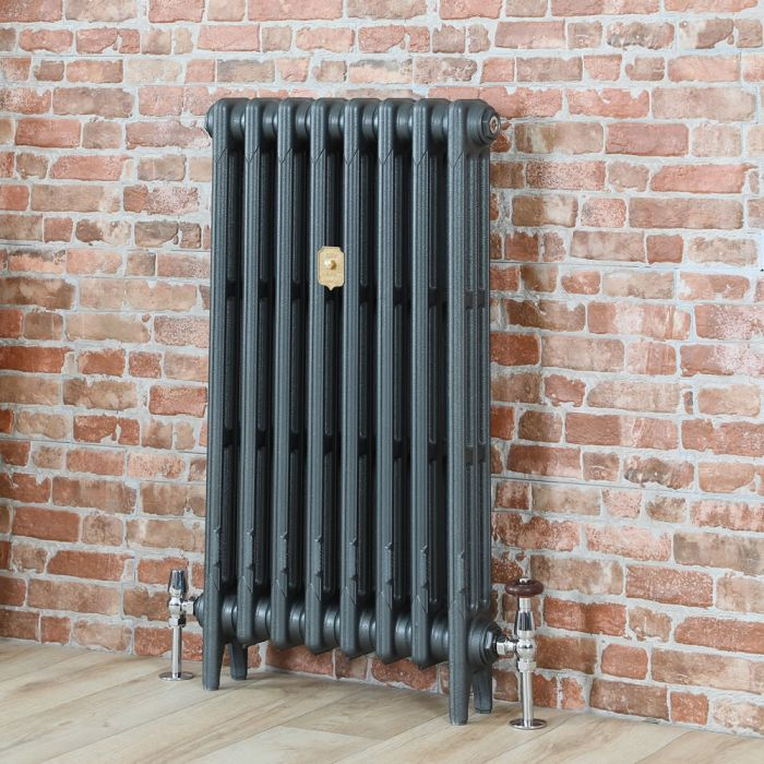 Milano Mercury - Cast Iron Radiator - 660mm Tall - Antique Silver - Multiple Sizes Available