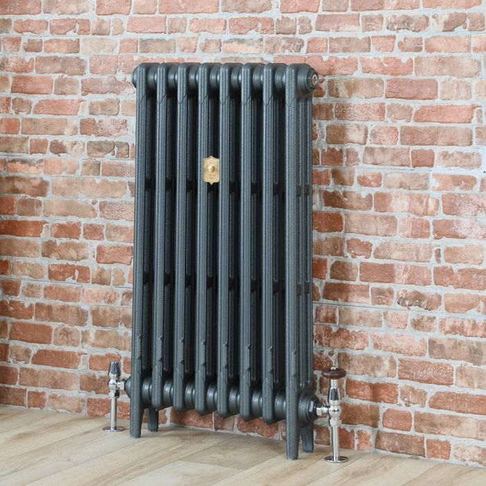Milano Mercury - Cast Iron Radiator - 860mm Tall - Antique Silver - Multiple Sizes Available