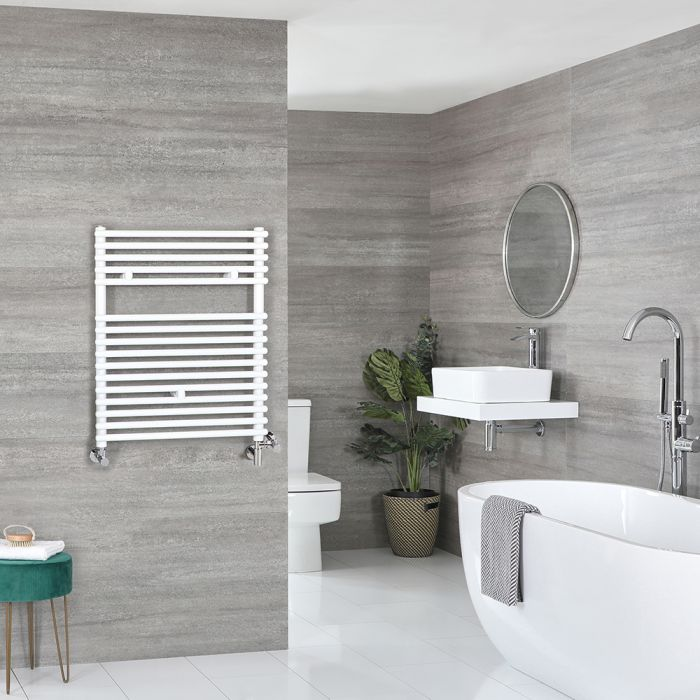 Milano Arno - White Dual Fuel Bar on Bar Heated Towel Rail 730mm x 450mm