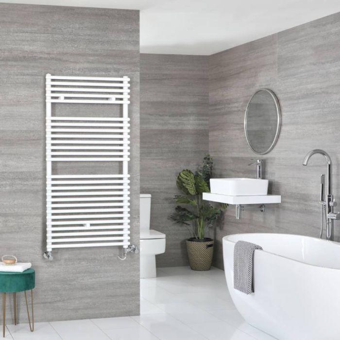 Milano Arno - White Dual Fuel Bar on Bar Heated Towel Rail 1190mm x 450mm