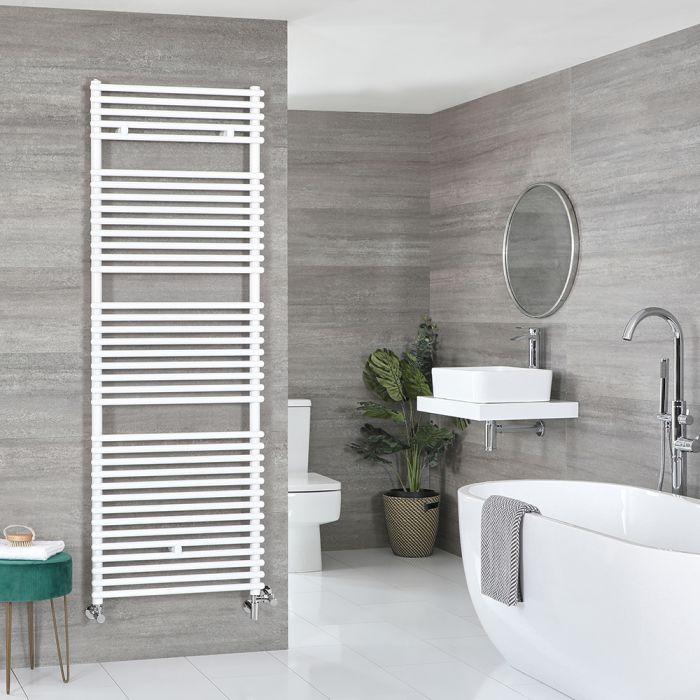 Milano Arno - White Dual Fuel Bar on Bar Heated Towel Rail 1738mm x 450mm