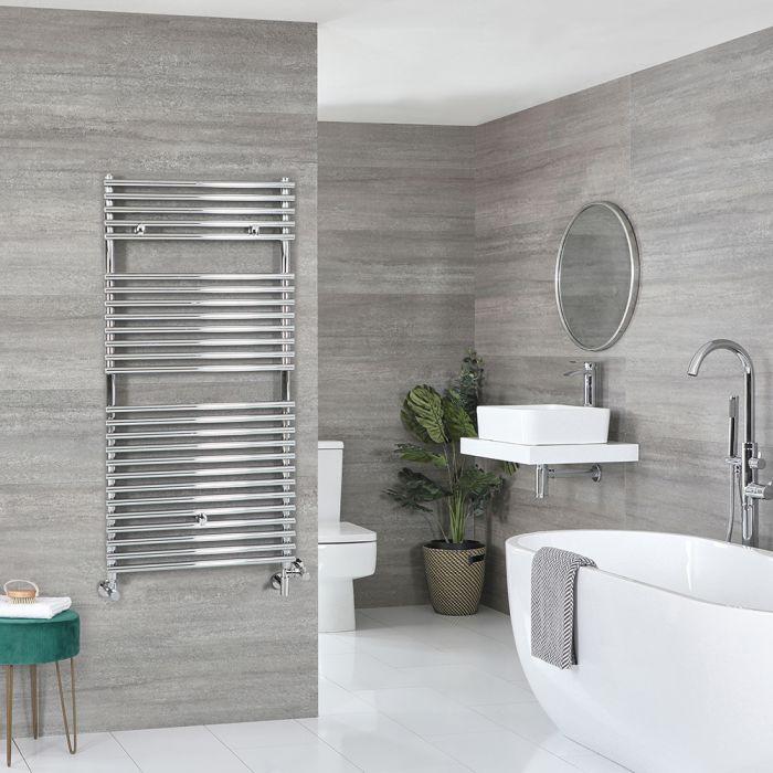 Milano Arno - Chrome Dual Fuel Bar on Bar Heated Towel Rail 1190mm x 600mm