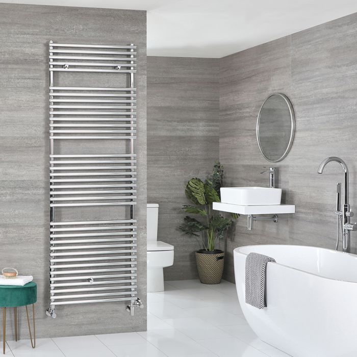 Milano Arno - Chrome Dual Fuel Bar on Bar Heated Towel Rail 1738mm x 600mm