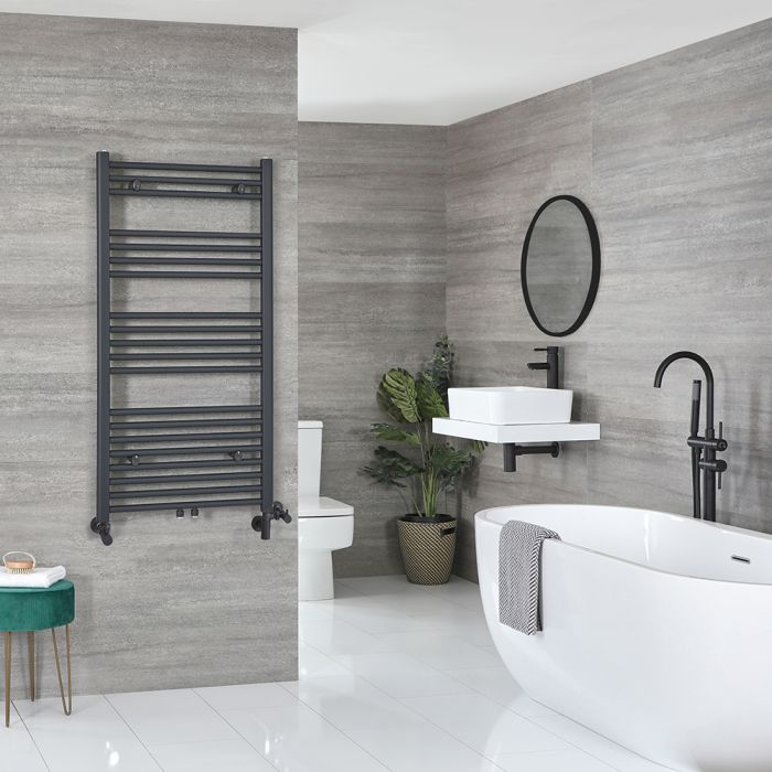 Milano Neva - Anthracite Dual Fuel Heated Towel Rail 1188mm x 500mm