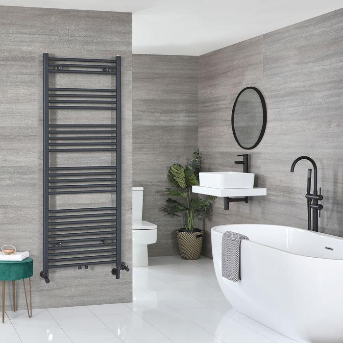 Milano Neva - Anthracite Dual Fuel Heated Towel Rail 1600mm x 500mm