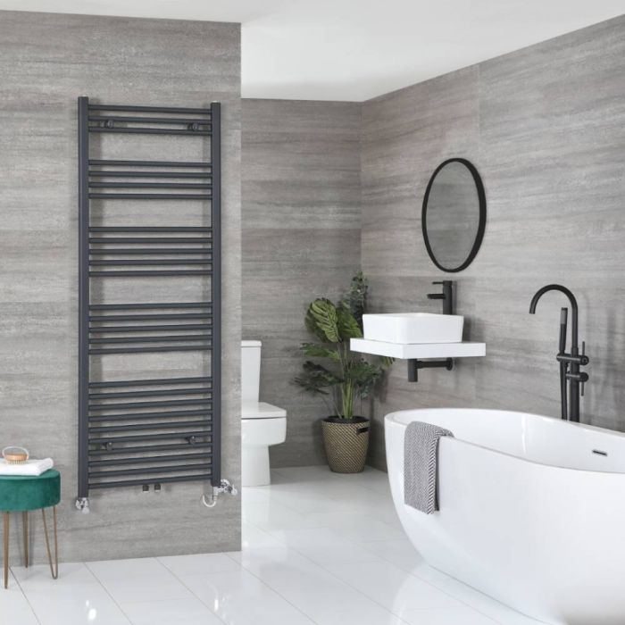Milano Neva - Anthracite Dual Fuel Heated Towel Rail 1600mm x 500mm