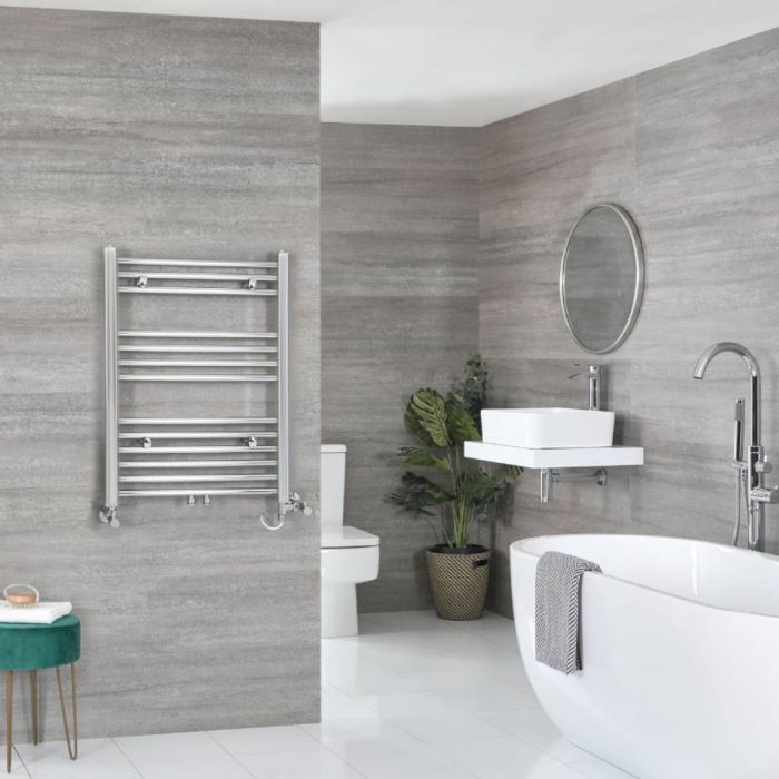 Milano Neva - Chrome Dual Fuel Heated Towel Rail 803mm x 500mm