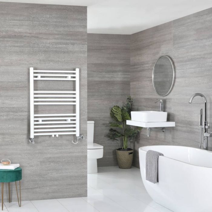 Milano Neva - White Dual Fuel Heated Towel Rail 803mm x 500mm