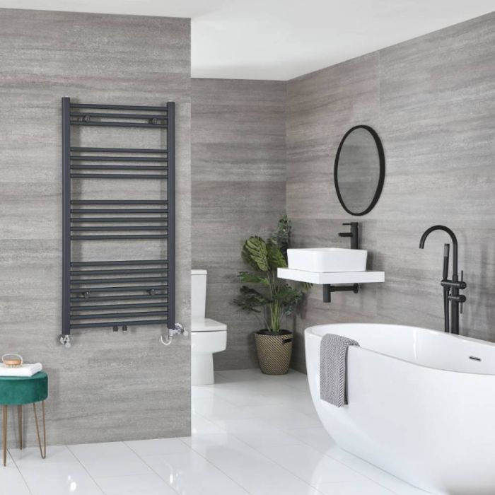 Milano Neva - Anthracite Dual Fuel Heated Towel Rail 1188mm x 600mm