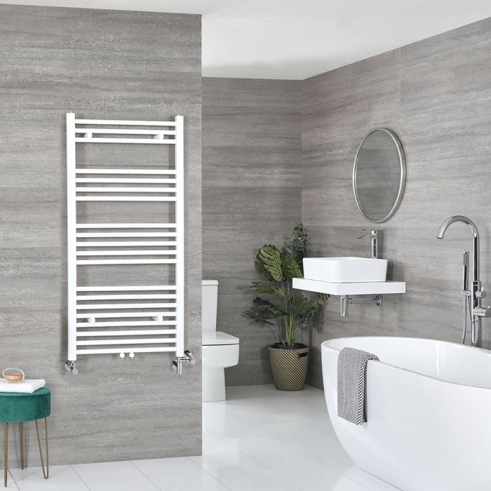 Milano Neva - White Dual Fuel Heated Towel Rail 1188mm x 600mm