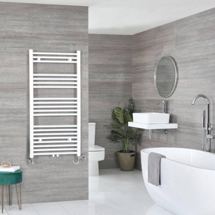 Milano Neva - White Dual Fuel Heated Towel Rail 1188mm x 600mm