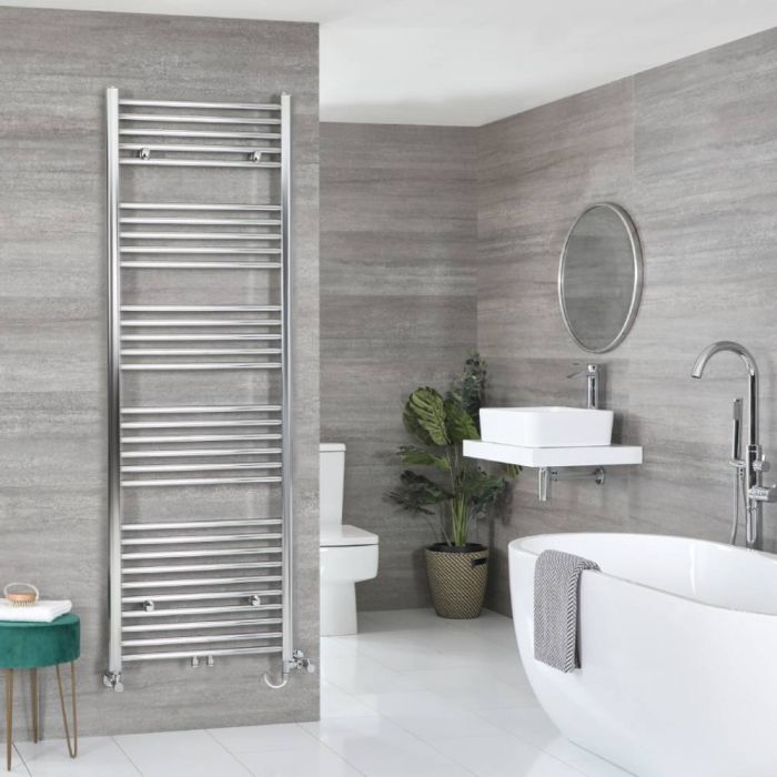 Milano Neva - Chrome Dual Fuel Heated Towel Rail 1785mm x 600mm