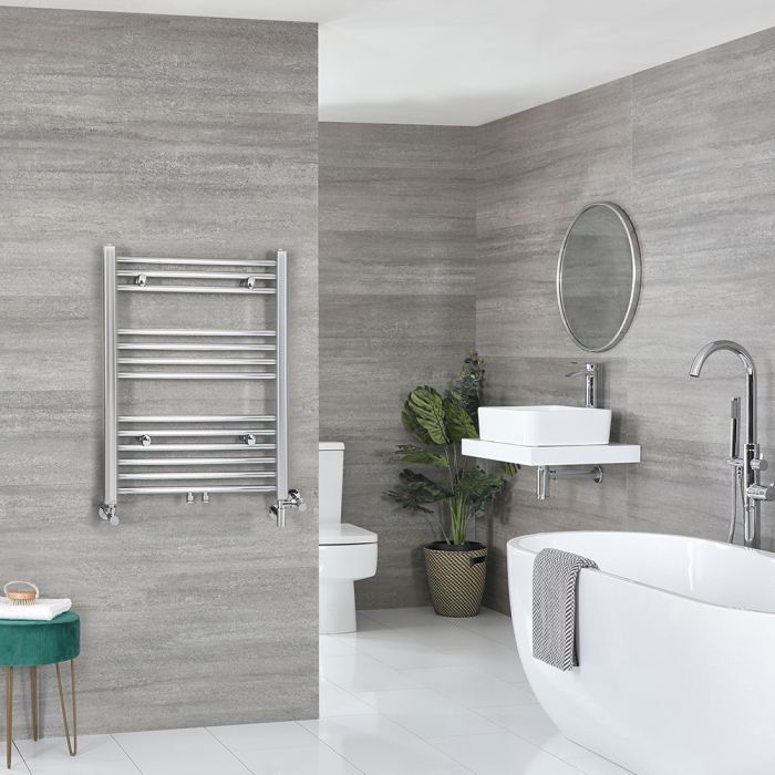 Milano Neva - Chrome Dual Fuel Heated Towel Rail 803mm x 600mm