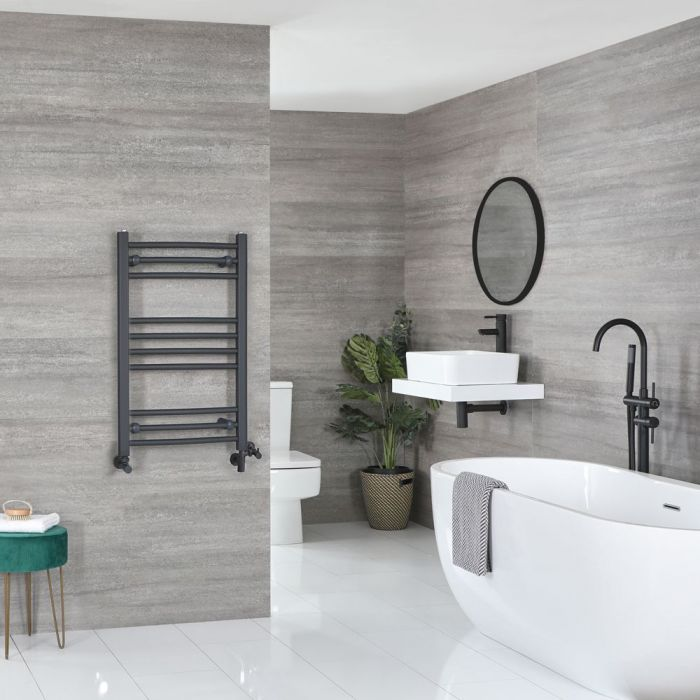 Milano Artle - Anthracite Dual Fuel Curved Heated Towel Rail 800mm x 500mm