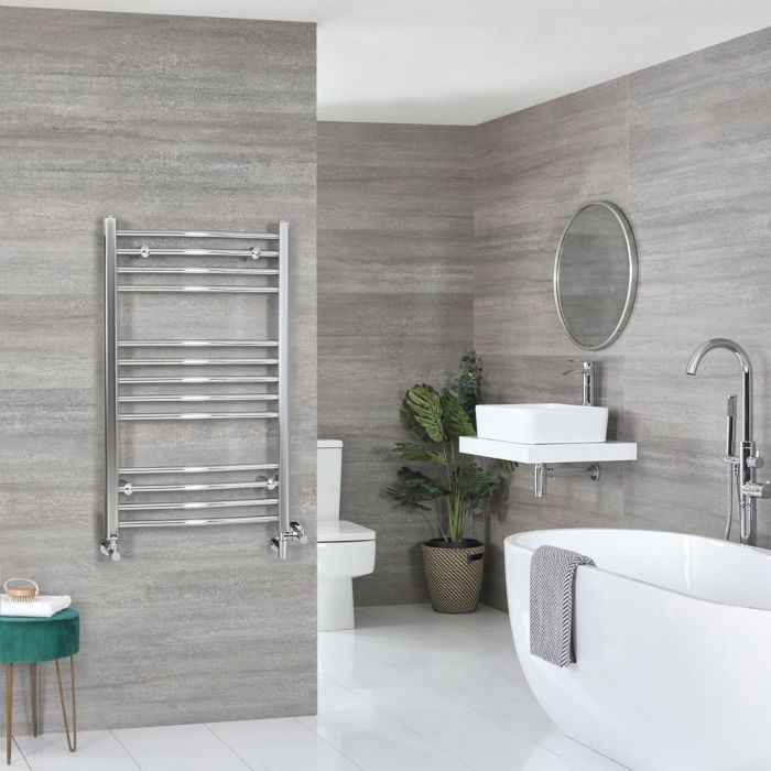 Milano Kent - Chrome Dual Fuel Curved Heated Towel Rail 1000mm x 500mm
