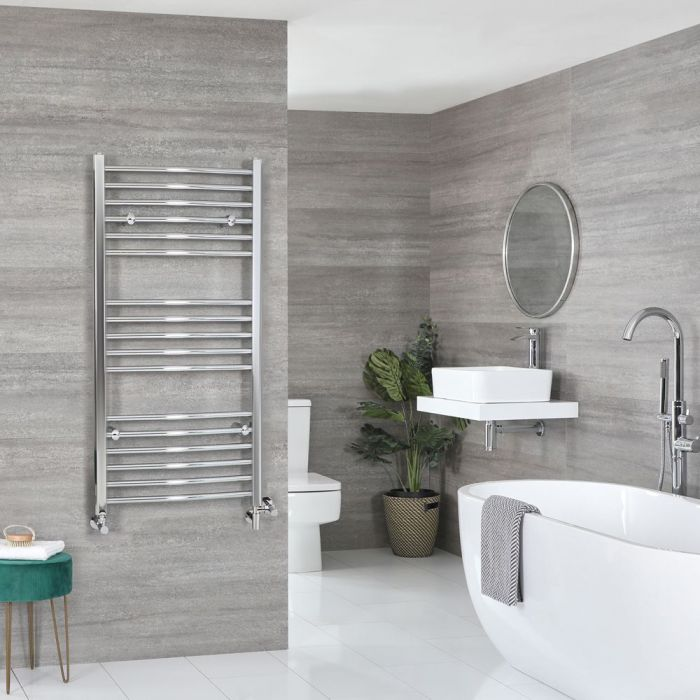 Milano Kent - Chrome Dual Fuel Curved Heated Towel Rail 1200mm x 500mm
