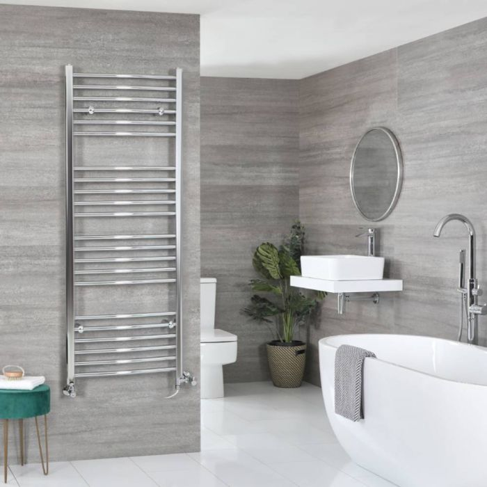 Milano Kent - Chrome Dual Fuel Curved Heated Towel Rail 1600mm x 500mm