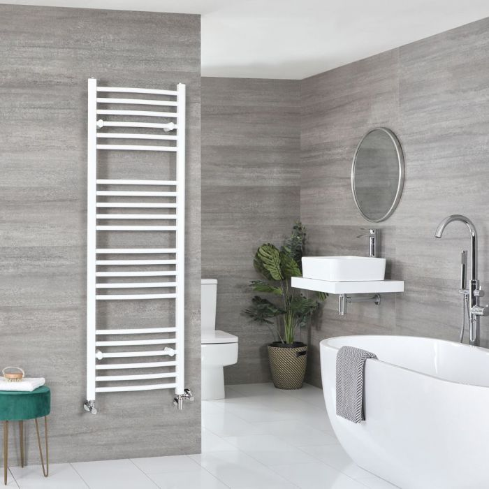 Milano Ive - White Dual Fuel Curved Heated Towel Rail 1600mm x 500mm