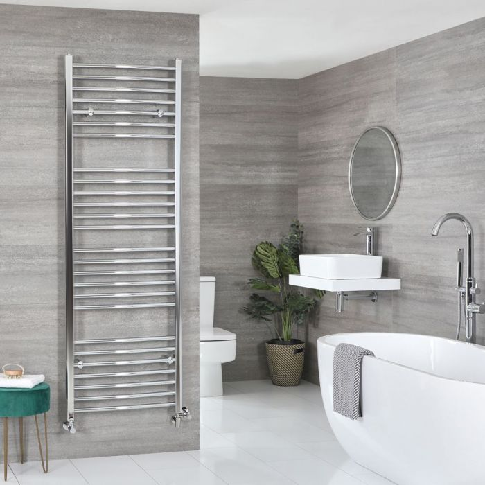 Milano Kent - Chrome Dual Fuel Curved Heated Towel Rail 1800mm x 500mm