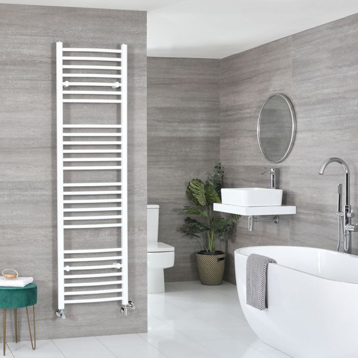 Milano Ive - White Dual Fuel Curved Heated Towel Rail 1800mm x 500mm
