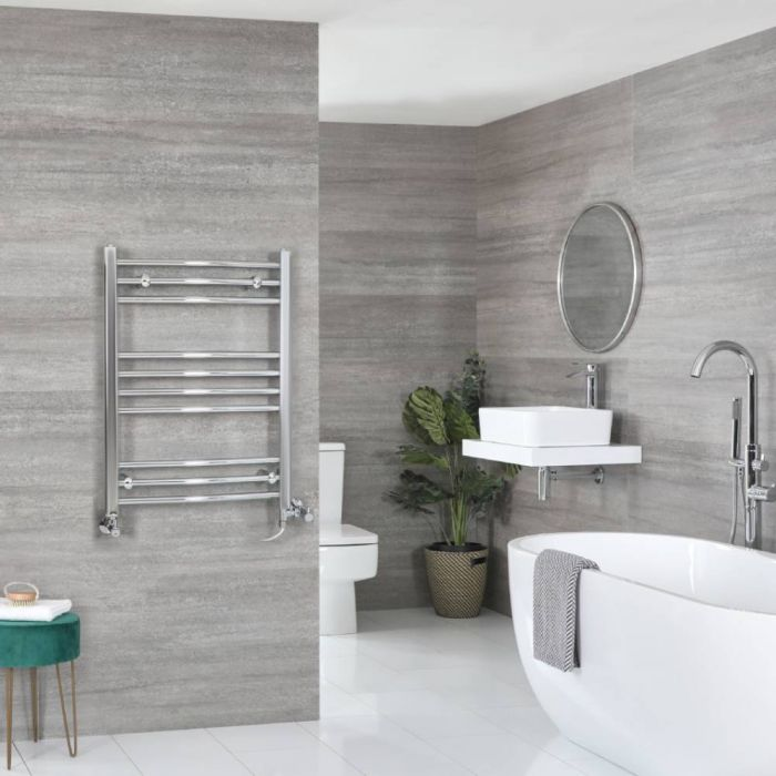 Milano Kent - Chrome Dual Fuel Curved Heated Towel Rail 800mm x 600mm